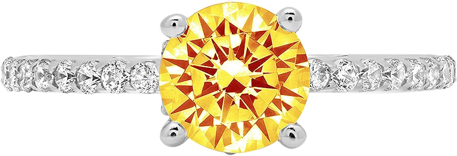 1.48ct Brilliant Round Atlanta Mall Cut cathedral Yellow Natural Solitaire Large special price !! Ci