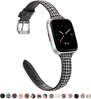 TOYOUTHS Leather Strap Compatible with Fitbit Versa/Versa 2 Bands for Women Men Slim Genuine Leather Wristbands Replacement for Versa Lite Edition/Versa SE Classic Accessorie Multi Colors