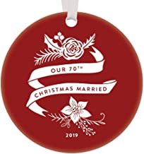 Our 70th Christmas Married Ornament 2019 Dated Wedding Anniversary Gift Ideas Mom & Dad Grandparents 70 Year Platinum Marriage Celebration Rustic Red Boho Floral Holiday Present 3