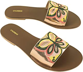 Chumbak Butterfly Embroidered Polyurethane Rose Gold Sliders for Women -38