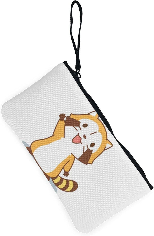AORRUAM HI Red panda Canvas Coin Purse,Canvas Zipper Pencil Cases,Canvas Change Purse Pouch Mini Wallet Coin Bag