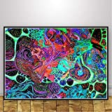 Blacklight Oil Painting Modern Psychedelic Abstract Trippy Poster Wall Art Picture Prints Canvas Living Home Room Decor 50x70cm No Frame santarona