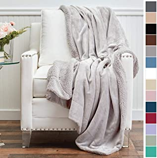 The Connecticut Home Company Micromink Velvet with Sherpa Reversible Throw Blanket, Super Soft, Large Wrinkle Resistant Blankets, Warm Hypoallergenic Washable Couch or Bed Throws, 65x50, Silver