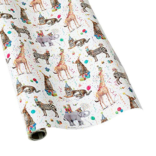 Caspari - Christmas Gift Holiday Wrapping Paper, Party Animals