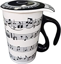Giftgarden 13.5 oz Coffee Tea Travel Mug with Lid Staves Music Notes Ceramic Cup
