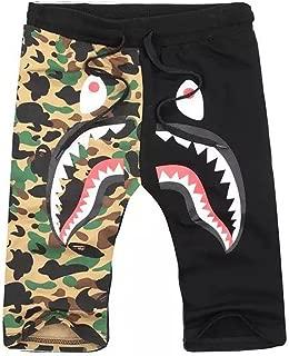 Shark Pattern Camouflage Stitching Shorts Men Drawstring Black Sports Shorts