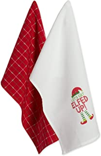DII 100% Cotton 18x28 Christmas Holiday Dish Towels Set of 2-Elfed Up Up,