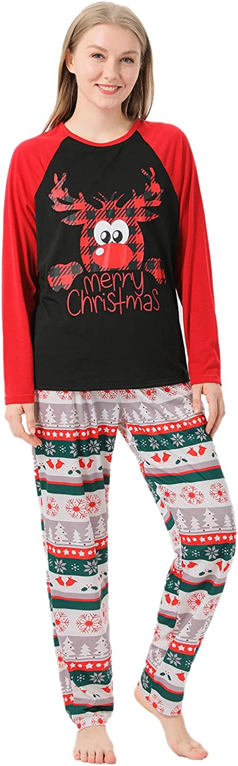 Matching Family Pajamas Sets Christmas Elk Pattern Crewneck Sleepwear Long Sleeve Outfits Trousers Casual Cozy Suit