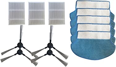 Meijunter 4Side Brush+3Hepa Filter+5Mopping Cloth Pads for Proscenic Vacuum Cleaner Bluesky MC70 Swan P1 P2 P3 P1S P2S,Cotton Core Filter Mop Cloth Side Brush Sweeper Replacement Kit