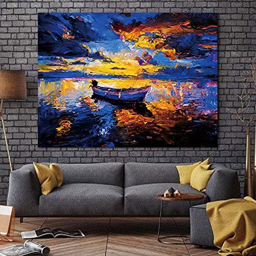 Gymqian Cuadro de Arte de Pared de Lienzo Abstracto Paisaje Moderno Nube mar Barco Arte Pintura Cartel e Impresiones para Dormitorio decoración del hogar 80x100cm sin Marco