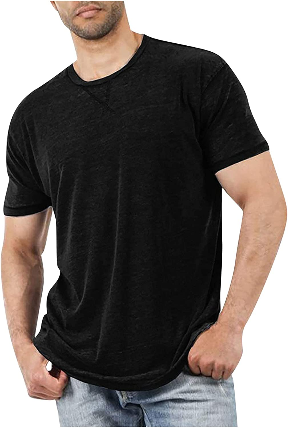 Men's Soild Color Short Sleeve T-Shirts Comfy Casual Blouse Round Neck Tee Shirt Summer Soft Loose Tops