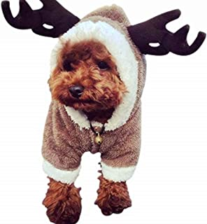 Christmas elk pet dog cosplay clothes for poodle bichon frise small dogs-s