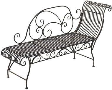 CLP Banc de Jardin Karma en Fer Forgé - Banc avec Récamière - Banquette de Jardin Style Romantique - Chaise Longue de Jardin