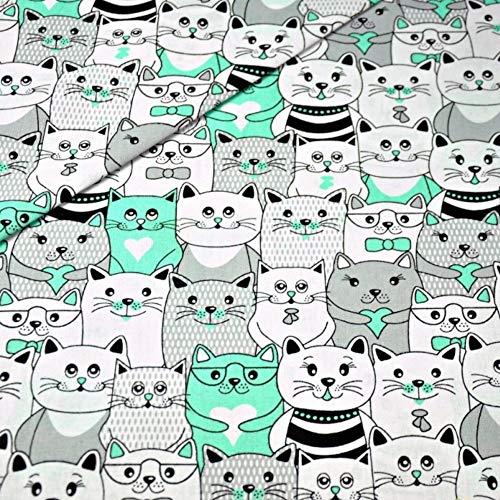 Pingianer 11,99 €/m gato 100 % algodón tela de algodón para niños al metro artesanía costura tela, Muchos gatos menta, 100x160cm (11,99€/m)