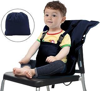 チェアベルトポータブル 収納ポケット付きチェアベルト 携帯型食事 ベビーチェア小物 幼児旅行の安全 ダークブルー