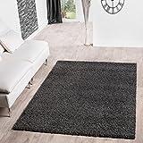 T&T Design Shaggy Teppich Hochflor Langflor Teppiche Wohnzimmer Preishammer versch. Farben, Farbe:anthrazit, Größe:140x200 cm