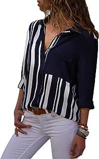 قمصان MISSLOOK نسائية مخططة بأزرار سفلية وأكمام ملفوفة ورقبة على شكل V بلوزات عمل كاجوال