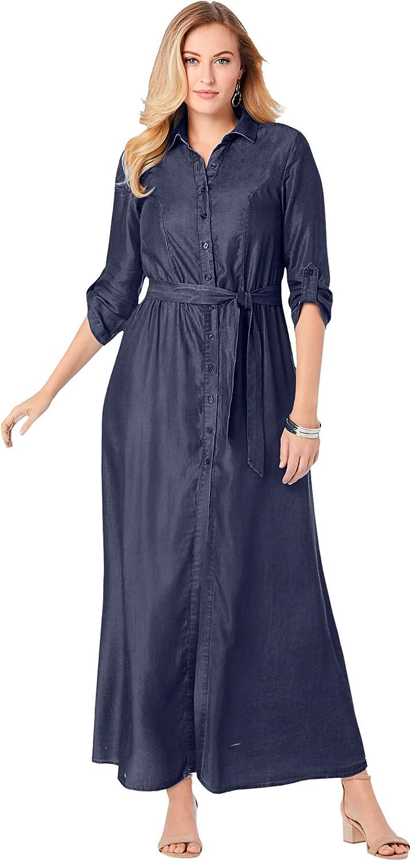 Jessica London Women's Plus Size Denim Maxi Dress Soft Denim
