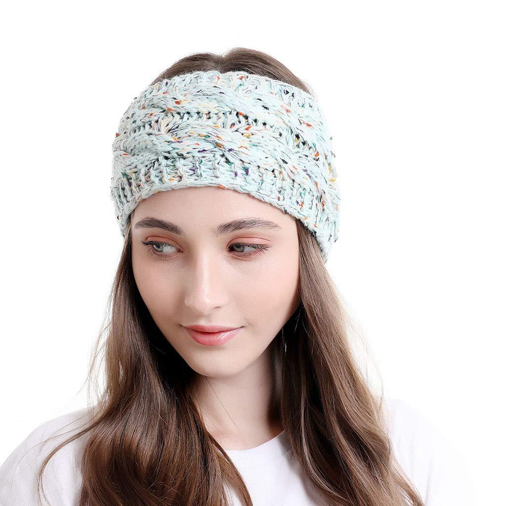 Headband Accessories Hat Lady Women Knitted Headbands Winter Warm Head Wrap Wide Hair (Light blue)