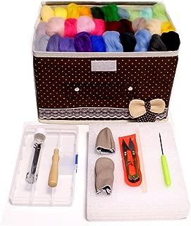 3world 羊毛フェルト 手芸 キット 45点 スターター セット 羊毛 30色 収納ボックス SW1035 ブラウン M