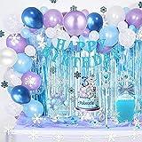 Decoraciones de Cumpleaños de Frozen Globos de Fiesta de Copo de Nieve de Frozen Corona y Cetro Globos de Látex Azul Plateado para Niña Mujer Adorno paraTarta Mantel Pegatinas