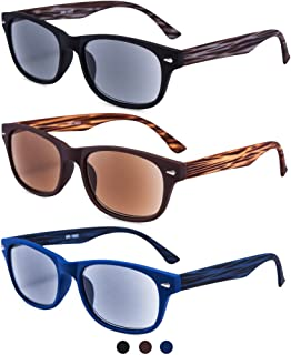 EYEGUARD 3 Pack Unisex Classic of Style Sunglasses Readers UV400 Protection Outdoor Reading Glasses for Men and Women 2.00 - Not Bifocals