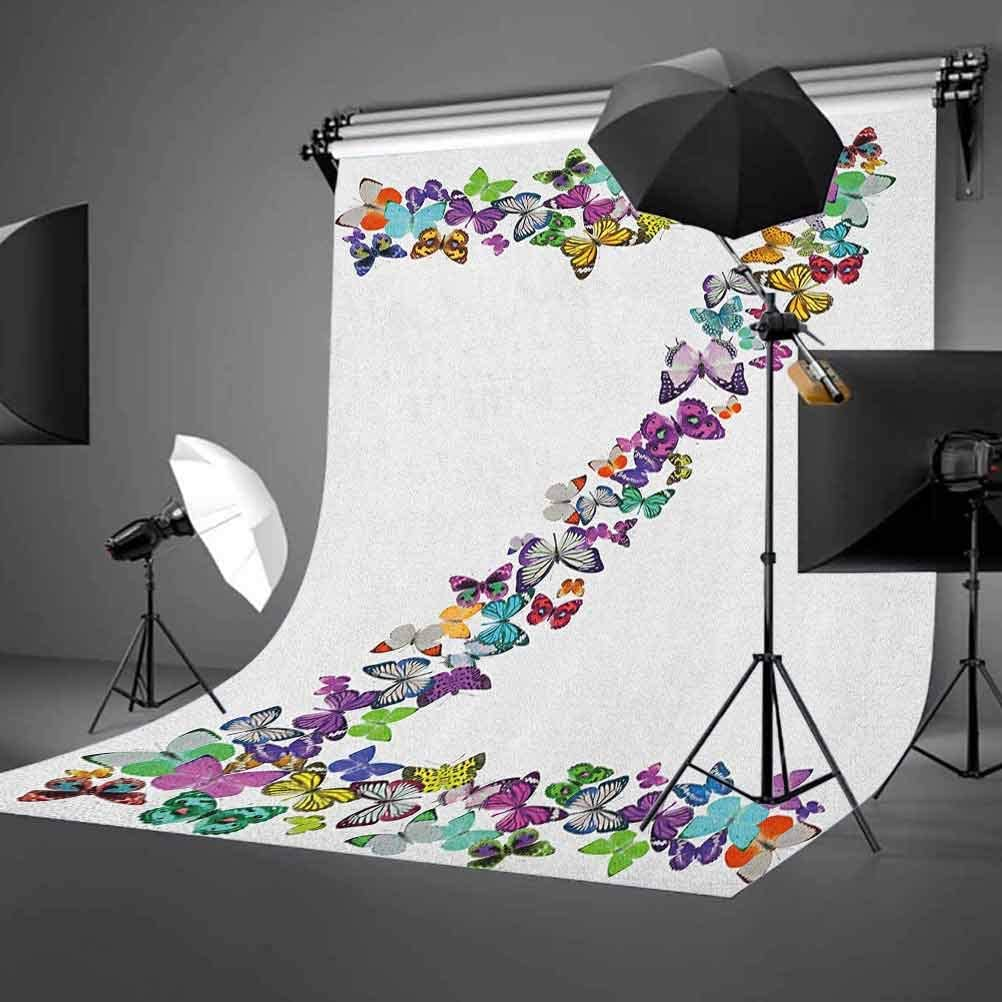 8x12 FT Tea Party Vinyl Photography Background Backdrops,Happiness is a Cup of Tea Stylized Calligraphy Butterflies Roses Background for Graduation Prom Dance Decor Photo Booth Studio Prop Banner