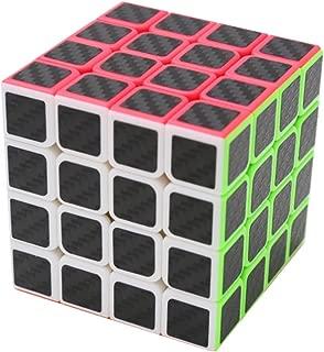 CuberSpeed Magic Cube 4x4 Stickerless Bright with Black Sticker Speed Cube Phantom Carbon Fiber Sticker 4x4x4 Color Magic Cube