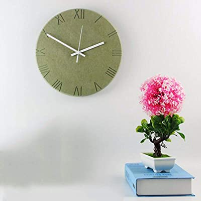 Imoerjia Creative Personality and Stylish Garden Bedroom Living Room Mute Wooden Wall Clock in Table C