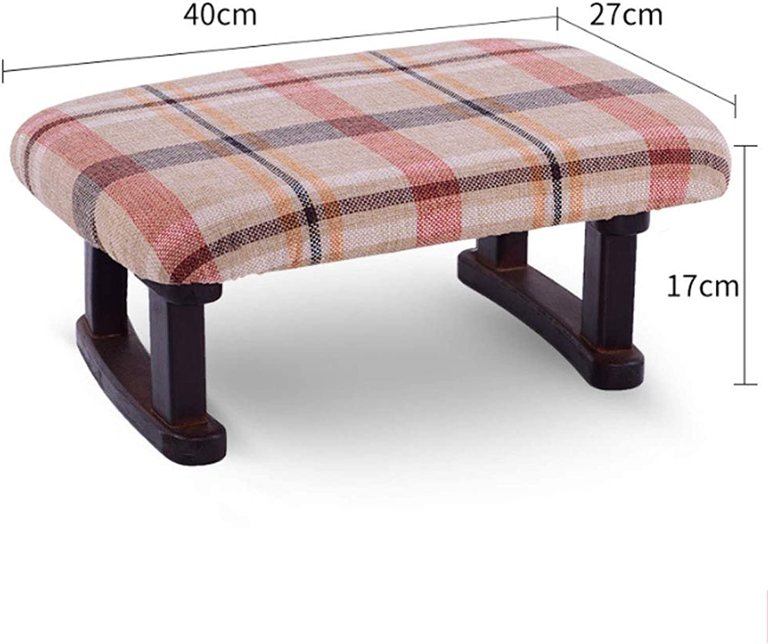 ZXW STOOLS- Home Solid Wood Stool Fashion Creative Sofa Change shoes Bench Fabric Living Room Small Bench (color   Red Grid, Size   40x27x17cm)