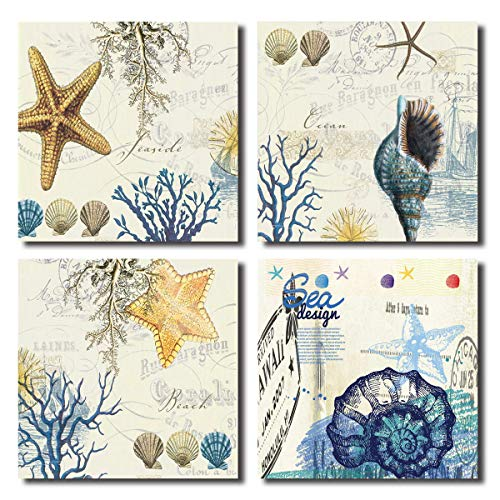Blue Seashell Starfish Wall Art Decor Contemporary Seascape Canvas Print Painting for Home Bathroom (BLUE, 12x12inchx4pcs)