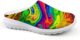 Men's Slippers Mesh Clogs Mules Beach Shoes Colourful Graffiti Abstract Veins Print Fashion Sandals Man Lazy Shoes Closed ...
