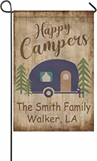 FunStudio Personalized Happy Campers Garden Flag for Outside, Customized Camping RV Campsite Motorhome Gift Decoration 12x...