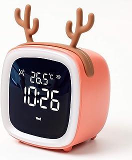 VIKMARI 目覚まし時計 置き時計 デジタルクロック LED数字表示 温度表示 テレビ型 卓上時計 アラーム 充電式 ナイトライト USB充電 ライト付き かわいい鹿(オレンジ)