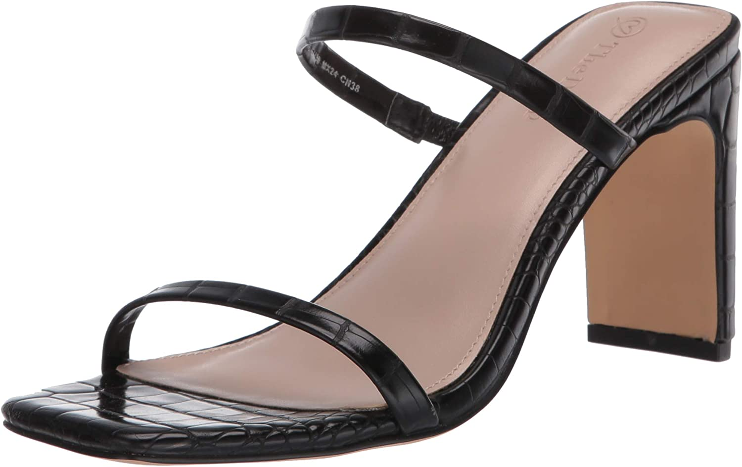 The Drop Women's Avery Square Toe Two Strap High Heeled Sandal