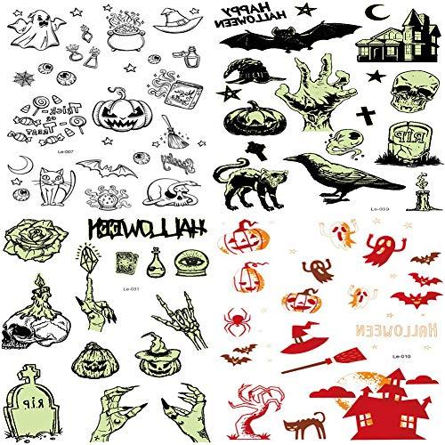 Pegatinas de Halloween Tatuaje Temporal Luminoso Que Brilla en la Oscuridad para Niños, Fiesta, Truco o Trato