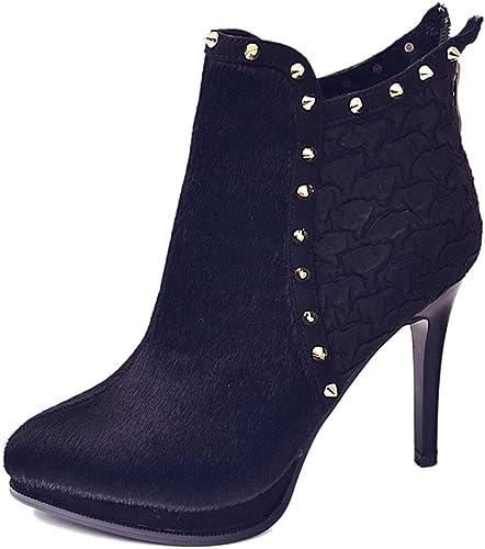GTVERNH Moda zapatos de mujer Impermeable 9Cm plataforma Tacones Altos Hembra Invierno Finos Tacones mujeres Famosas botas Cortas Señaló Remaches Martin botas