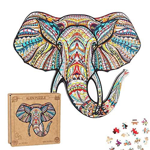 EXTSUD Holz Puzzle Erwachsene Holzpuzzle Spielzeug 3D Elefant Wooden Puzzle Mysterious Tier Wooden Jigsaw Puzzle Einzigartige Form Puzzleteile Erwachsene und Kinder,Familienspielsammlung,27 * 29cm
