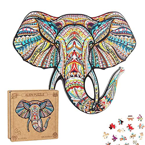 EXTSUD Rompecabezas de Madera para Adultos, Rompecabezas de Animales para Niños Rompecabezas de Forma Única (Elefante)
