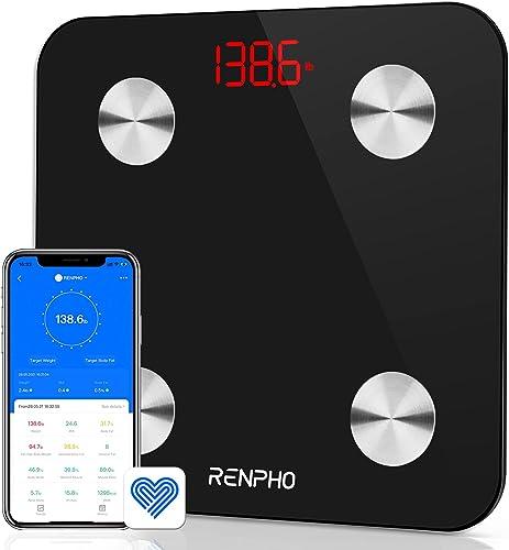 Báscula Grasa Corporal Bluetooth RENPHO con 13 Funciones, Báscula de Baño Digital con App, Báscula Inteligente y Moni...