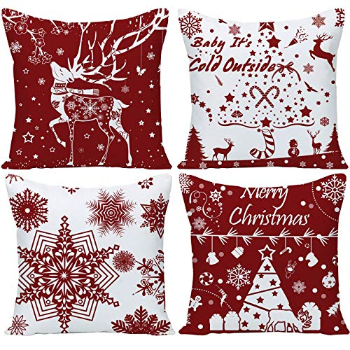 Guhoo Pack of 4 Merry Christmas Snowflakes Deer Dark Red Linen Decorative Throw Pillow Cover Personalized Cushion Case for Sofa Farmhouse Square 18'x 18'