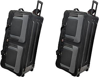 TWO PCS Amaro 36 Inch 1200d Explorer Rolling Duffle Bag V.2 (BLACK)