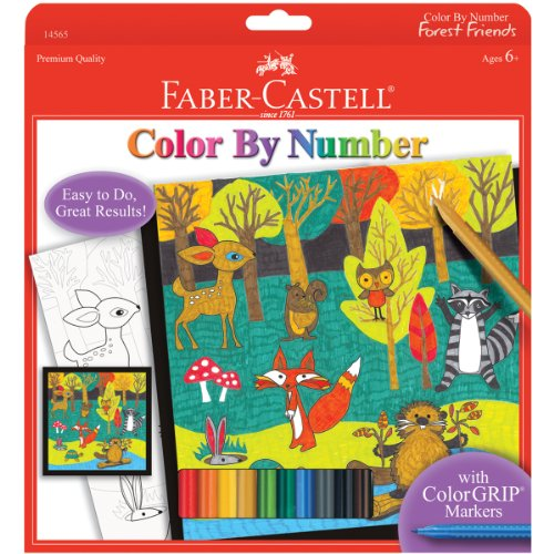 Faber-Castell Color by Number Woodland Forest Friends - Color and Display 1 Color by Number Board