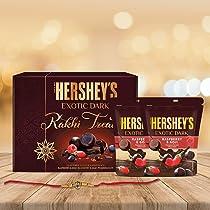 Hershey's Exotic Dark Rakhi Chocolate Gift Pack -Rasberry & Goji Variant with Rakhi  1 Gift Hamper (2*100 gm Pack) + Rakhi