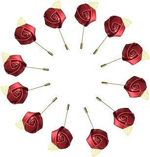 WeddingBobDIY 12Pieces/lot Groom Boutonniere Wedding Silk Rose(3.5cm) Flowers Accessories Prom Pin Man Suit Decoration Wine Red