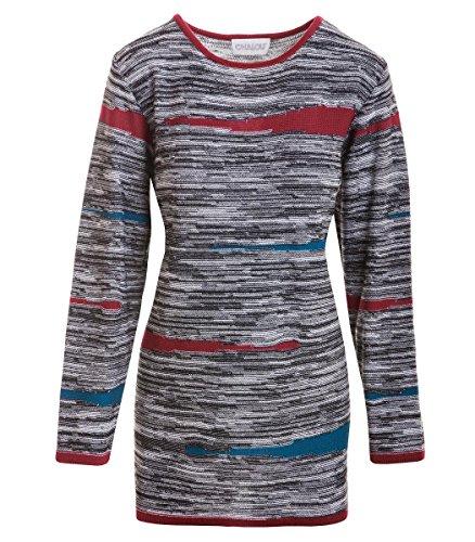 Chalou Mode Damen Winter Pullover Strickpullover in Grau Pulli mit Baumwolle, Größe:58