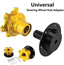 Aluminum Steering Wheel Quick Release hub Adapter,Racing Steering Wheel Quick Release Hub Adapter Kit Two Way 6-Hole Boss Snap Off Adapter (Golden)