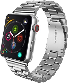 Pnuotuos Compatible with Apple Watch Band 42mm, Compatible with Apple iWatch 3/2/1 Series 42mm Stainless Steel Metal Durable Business Sport Replacement Wristband Strap for Men and Women - Silver
