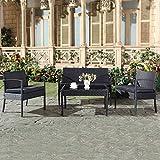 Mon Usine 8825 Le Graciosa Salon de Jardin 4 Places en résine tressée Noir 108 x 60 x 71 cm