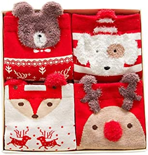 Women's Christmas Stockings Set of 4 Pairs Cute Cartoon Bear Deer Snowman Design Novelty Cotton Winter Socks